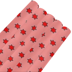"many stars red Gift Wrapping Paper 58""x 23"" (5 Rolls)"