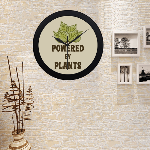 Powered by Plants (vegan) Circular Plastic Wall clock