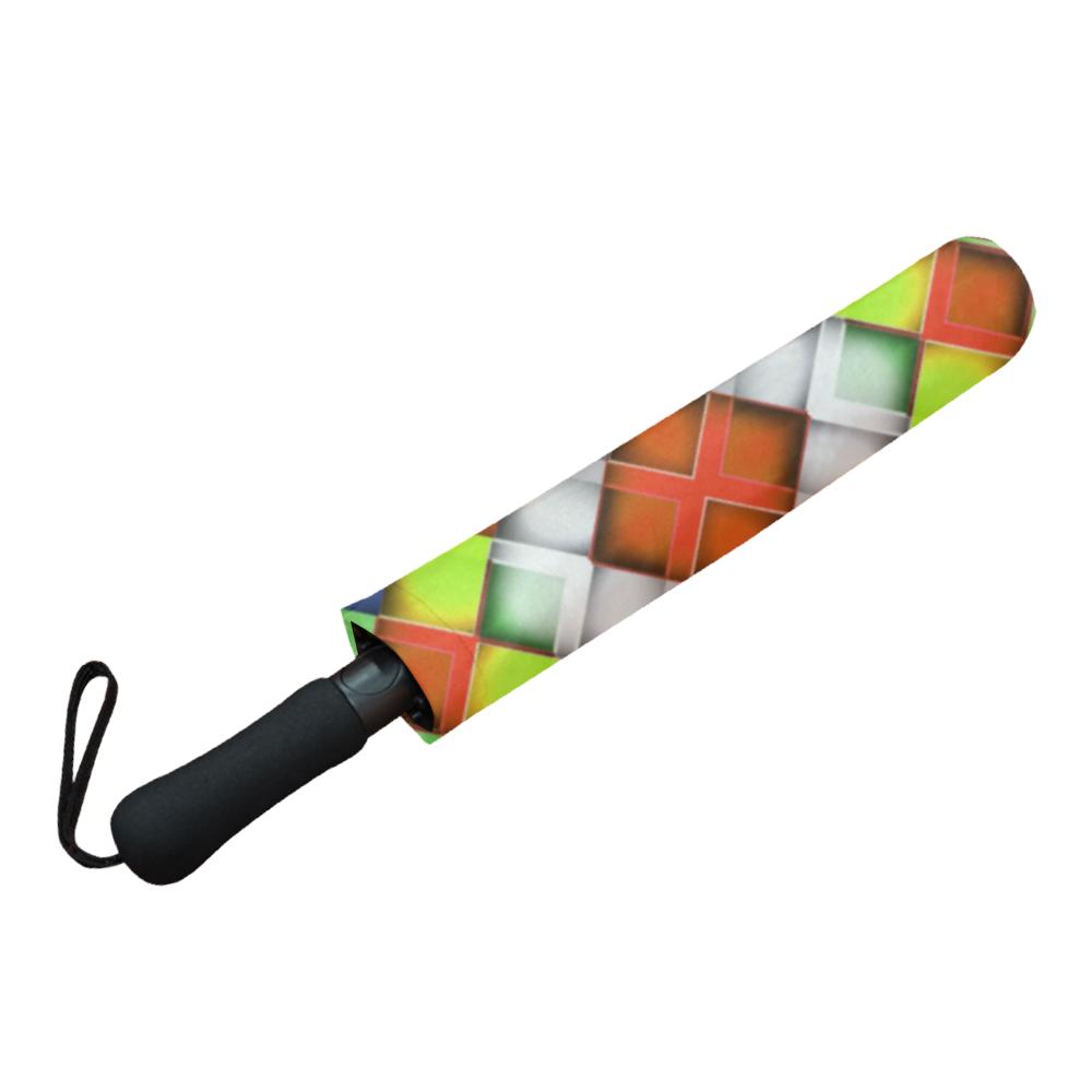 colorful geometric pattern Semi-Automatic Foldable Umbrella (Model U05)