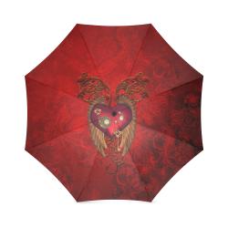Beautiful heart, wings, clocks and gears Foldable Umbrella (Model U01)