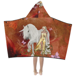 Unicorn with fairy and butterflies Kids' Hooded Bath Towels