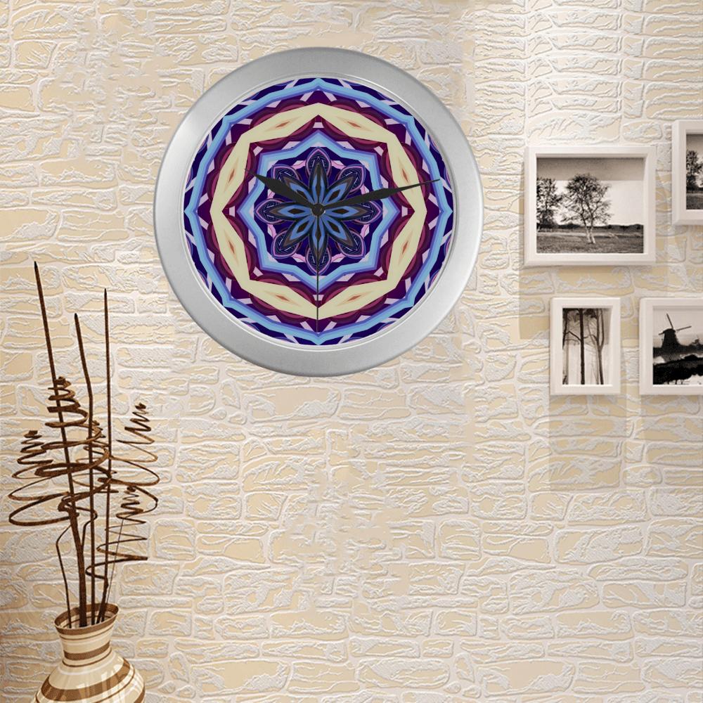 Silver Frame Wall Clock Classic Graphic Mandala Style Modern Art Wall Clock Silver Color Wall Clock