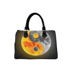 Awesome Moon Yin Yang Space Leather Boston Handbag (Model 1621)
