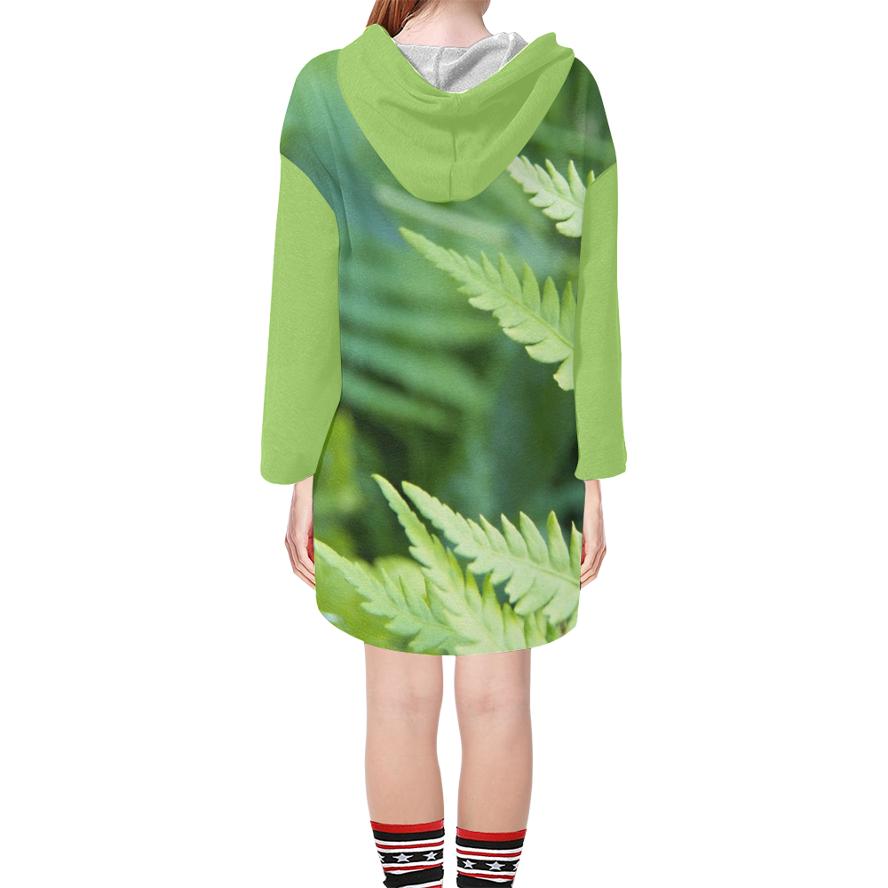 Fern and Focus Step Hem Tunic Hoodie for Women (Model H25)