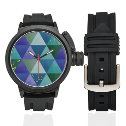 Triangle Pattern - Blue Violet Teal Green Men's Sports Watch(Model 309)