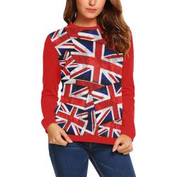 Union Jack British UK Flag - Union Jack British UK Flag (Vest Style) Red All Over Print Crewneck Sweatshirt for Women (Model H18)