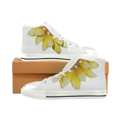 Yellow Flower, floral photography Women's Classic High Top Canvas Shoes (Model 017)