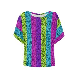 rainbow cheeta Women's Batwing-Sleeved Blouse T shirt (Model T44)