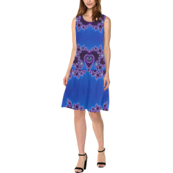 Blue Hearts and Lace Fractal Abstract 2 Sleeveless Splicing Shift Dress(Model D17)