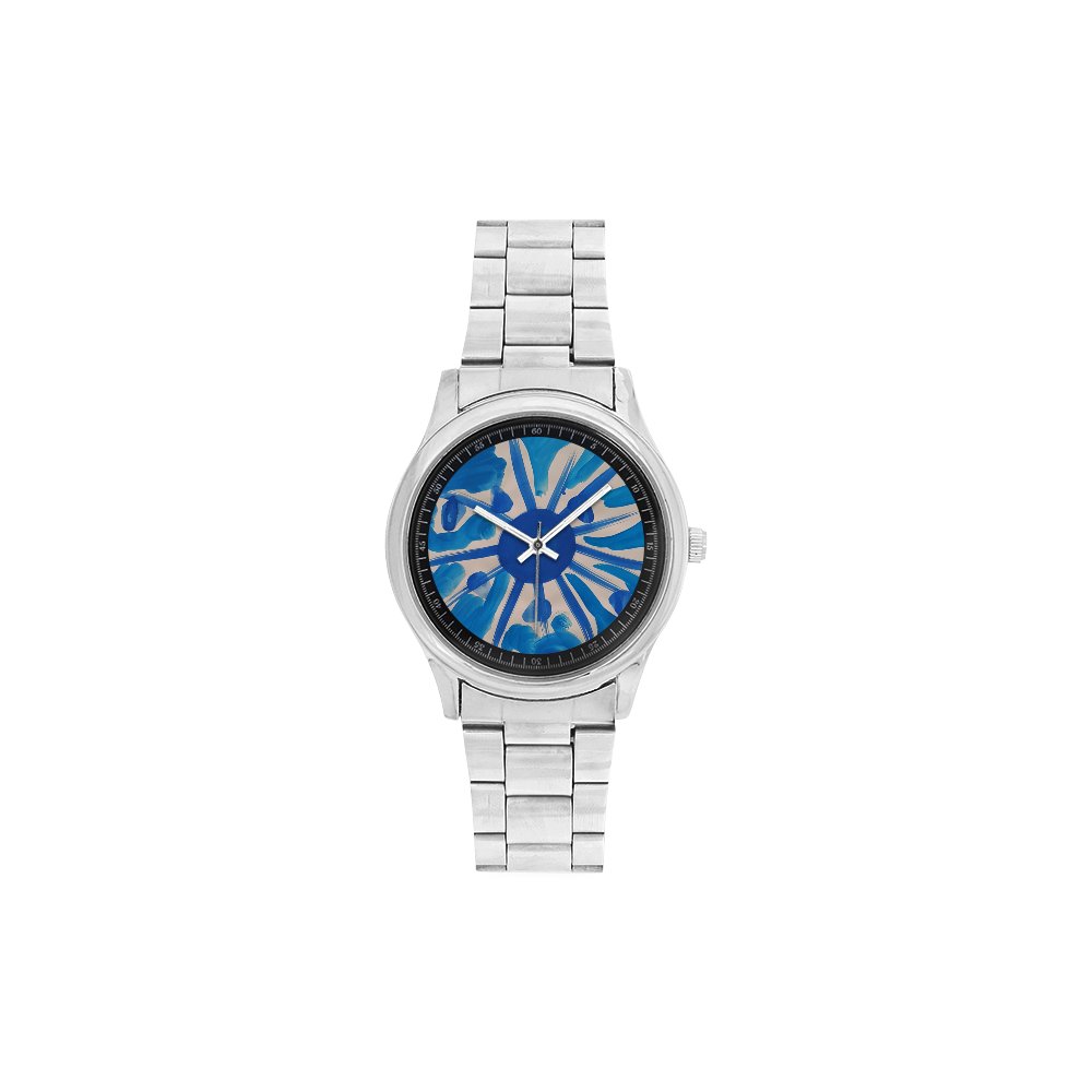 SERIES NOALIE WATERCOLOR BLUE SUN Men's Stainless Steel Watch(Model 104)