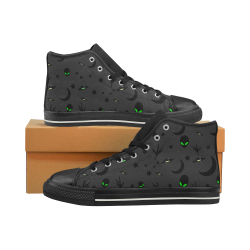 Alien Flying Saucers Stars Pattern on Charcoal Men's Classic High Top Canvas Shoes (Model 017)