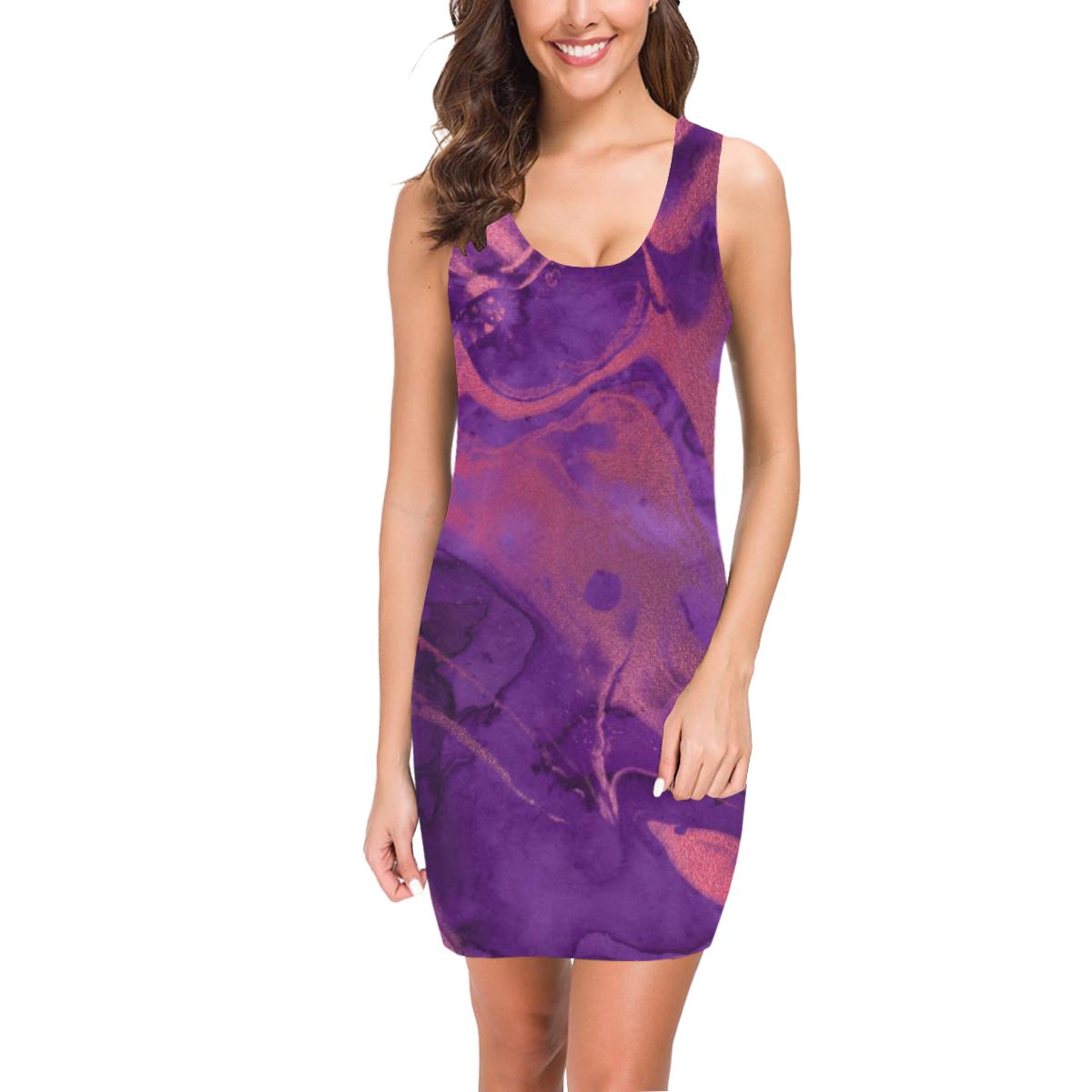FD's Purple Marble Collection- Women's Purple Marble Vest Dress 53086 Medea Vest Dress (Model D06)