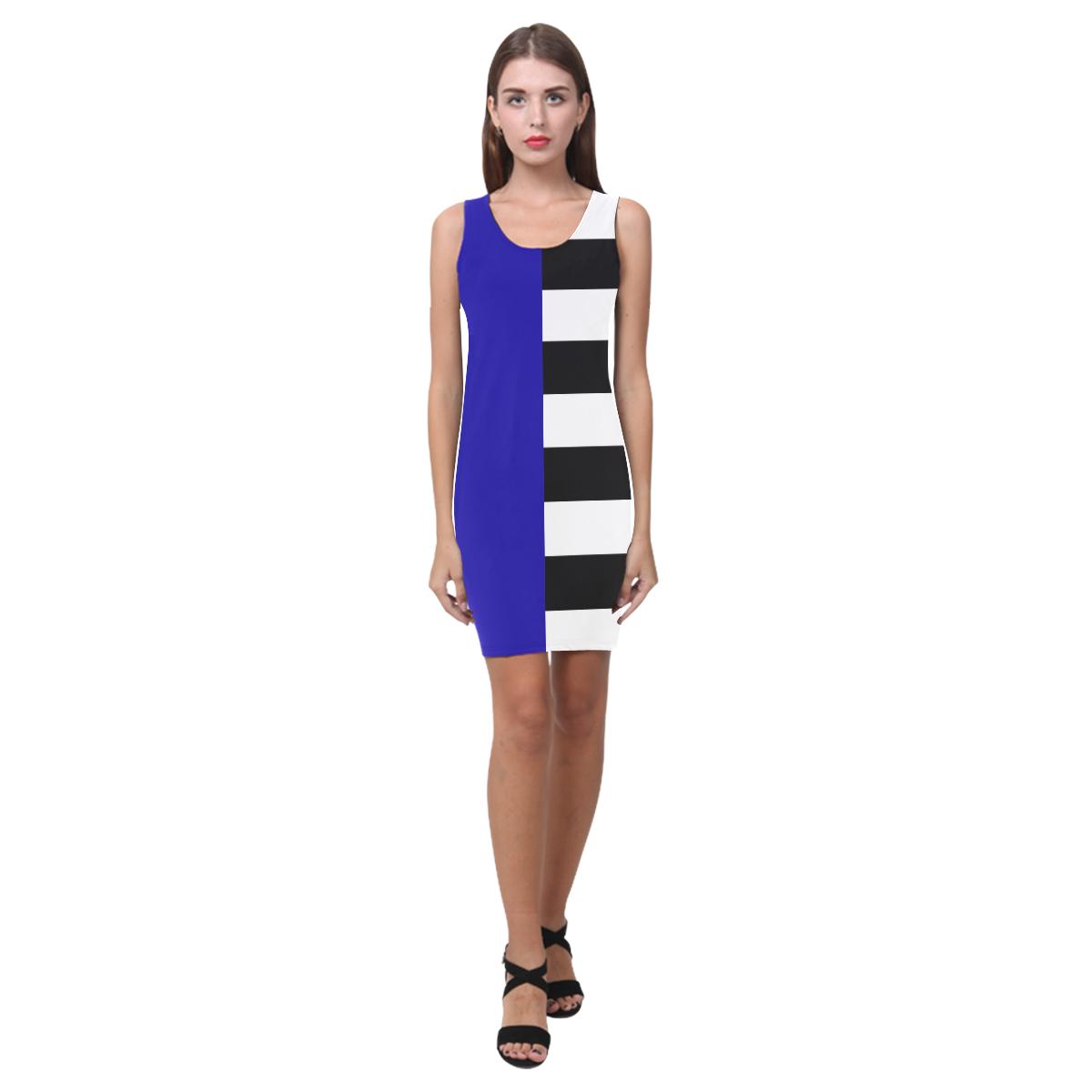 Blue and Stripes Mixed Print Medea Vest Dress (Model D06)