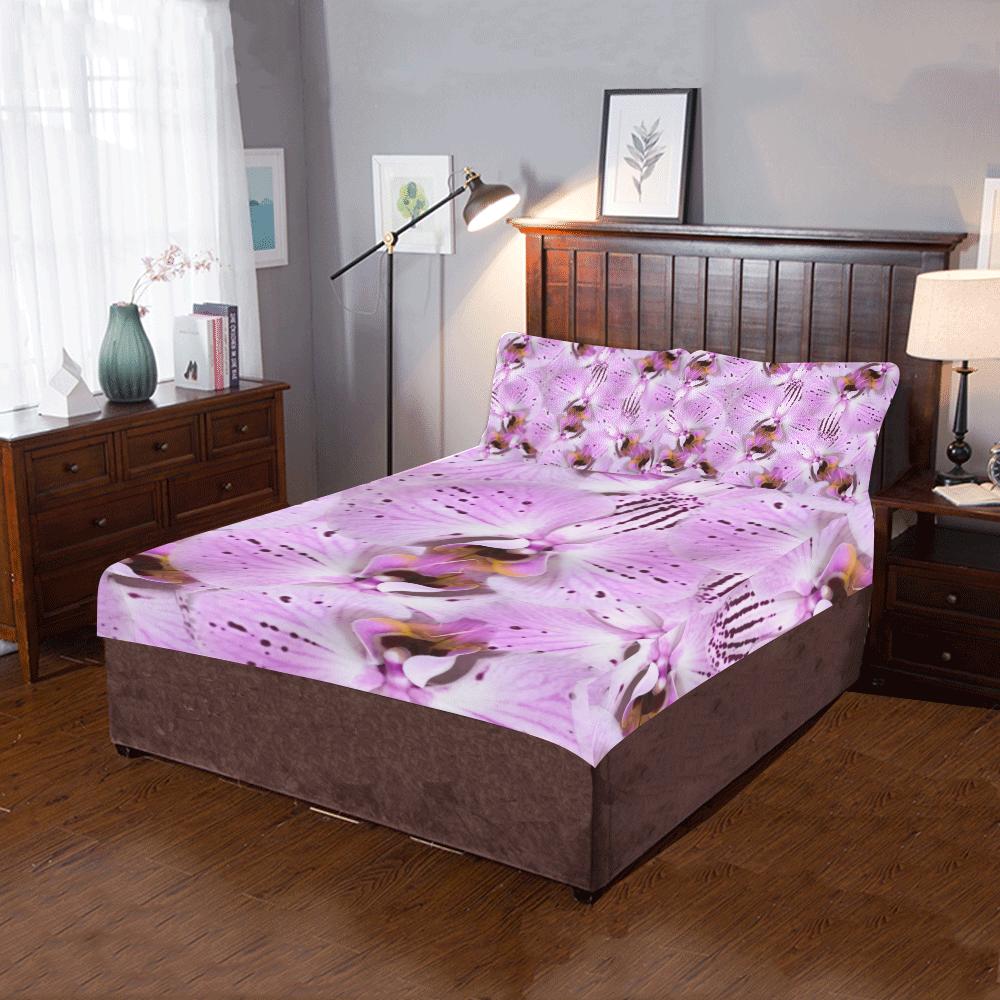 Plum Orchids 3-Piece Bedding Set