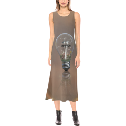 Light bulb with birds Phaedra Sleeveless Open Fork Long Dress (Model D08)