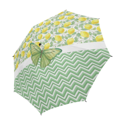 Butterfly And Lemons Semi-Automatic Foldable Umbrella (Model U05)