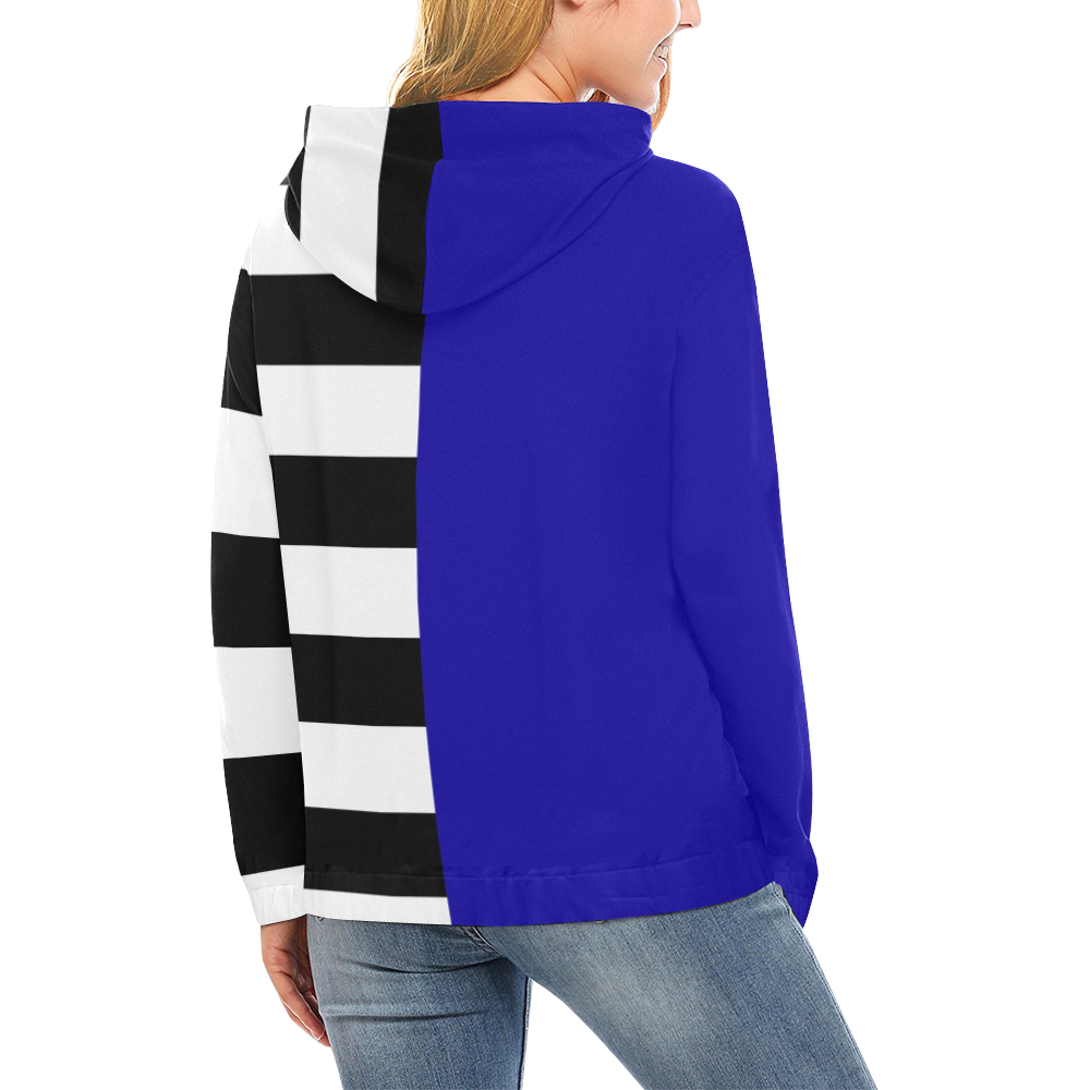 Blue and Stripes Mixed Print All Over Print Hoodie for Women (USA Size) (Model H13)