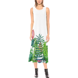 Gorgeous Floral Border Dress Phaedra Sleeveless Open Fork Long Dress (Model D08)