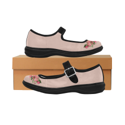 Mary Jane Shoes - Vintage Flowers in Nude Pink Mila Satin Women's Mary Jane Shoes (Model 4808)