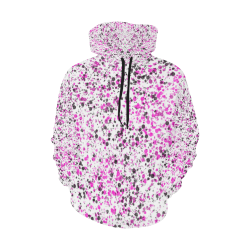 Pink, White and Black Spray Paint All Over Print Hoodie for Women (USA Size) (Model H13)