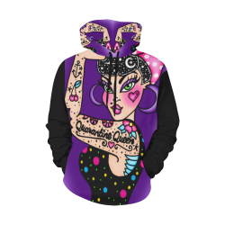 Quarantine Queen All Over Print Hoodie for Women (USA Size) (Model H13)