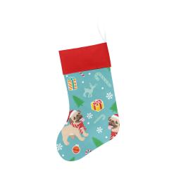 Happy Pug Christmas Pattern Christmas Stocking