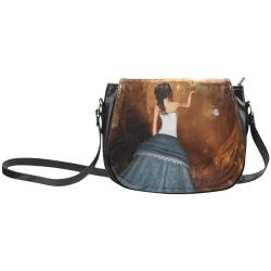 Fairy with fantasy bird Classic Saddle Bag/Large (Model 1648)