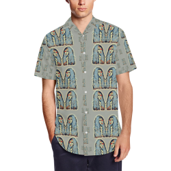 Rasta men is every where Men's Short Sleeve Shirt with Lapel Collar (Model T54)
