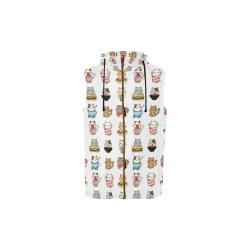 white All Over Print Sleeveless Zip Up Hoodie for Kid (Model H16)