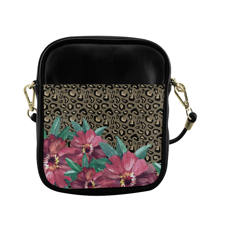 Flowers on Cheetah Print Sling Bag (Model 1627)