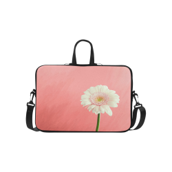 """Gerbera Daisy - White Flower on Coral Pink Classic Sleeve for 15.6"""" MacBook Air"""
