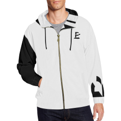 B Monogram Contrast Sleeve Striped Pack (Black/White) All Over Print Full Zip Hoodie for Men (Model H14)