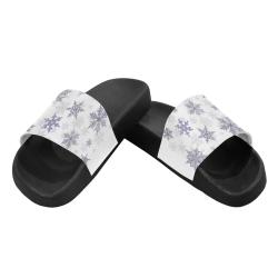 Snowflakes Blue Purple Women's Slide Sandals (Model 057)