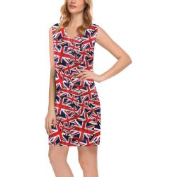 Union Jack British UK Flag Phoebe Sleeveless V-Neck Dress (Model D09)