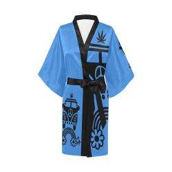 HIPPIE CANNABIS 70s 60s BLUE Kimono Robe
