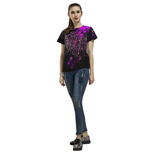 Elegant violet All Over Print T-Shirt for Women (USA Size) (Model T40)