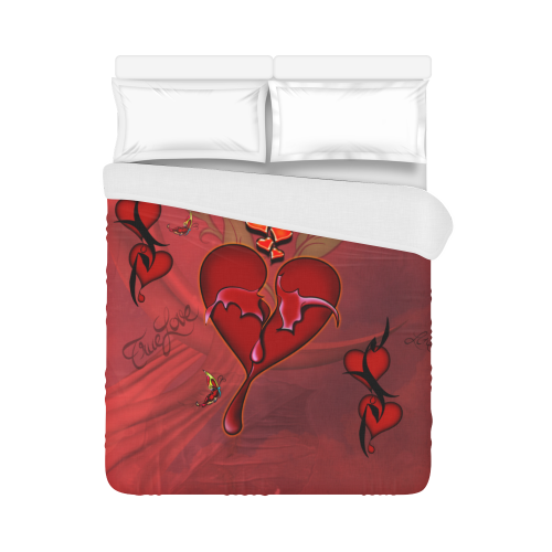 """Wonderful hearts Duvet Cover 86""""x70"""" ( All-over-print)"""