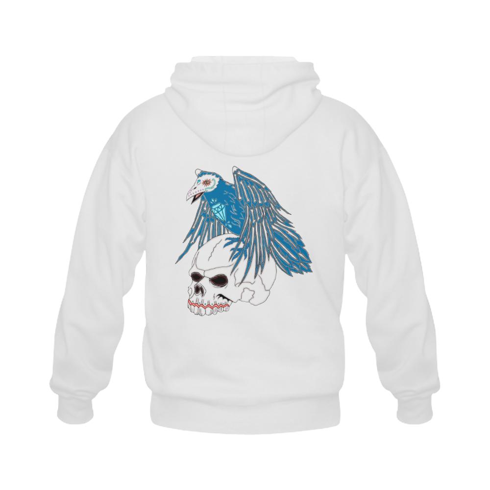 Raven Sugar Skull White Gildan Full Zip Hooded Sweatshirt (Model H02)