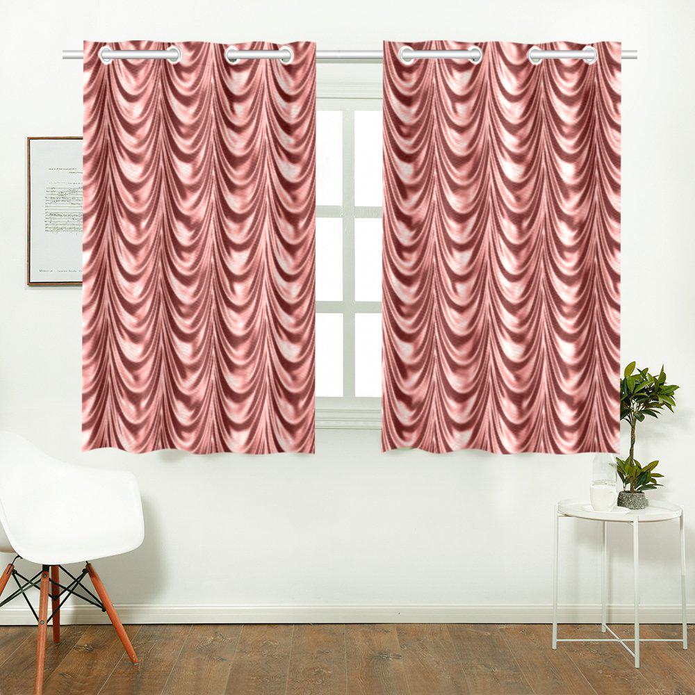 Burgundy fold waves Kitchen Curtain 26'' X 39''(2 Pieces, 1 Design)