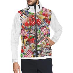 Gamblers Delight - Las Vegas Icons - Vest Style White Unisex All Over Print Windbreaker (Model H23)