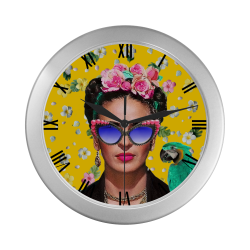 Frida Kahlo...Hey Where's My Earing Silver Color Wall Clock
