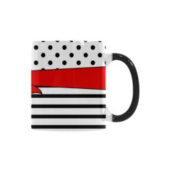 Polka Dots Stripes black white Comic Ribbon red Custom Morphing Mug (11oz)