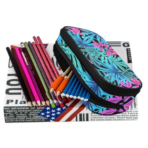 Pretty Leaves 4A by JamColors Pencil Pouch/Large (Model 1680)