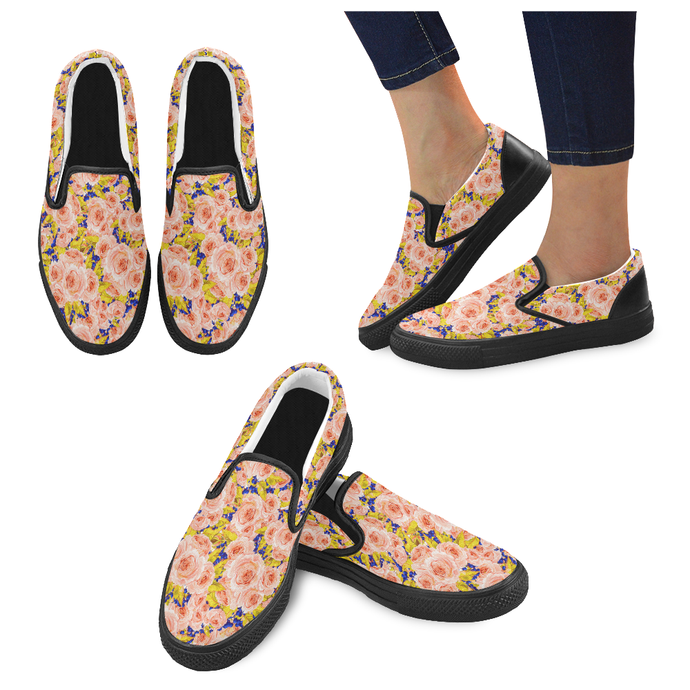 Rose Flower Women's Unusual Slip-on Canvas Shoes (Model 019)
