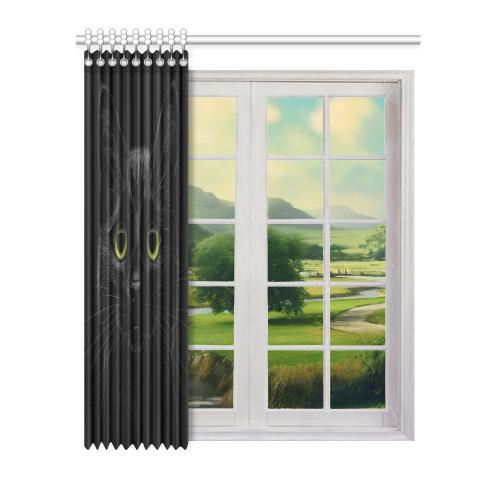 "Black Cat Window Curtain 52"" x 63""(One Piece)"