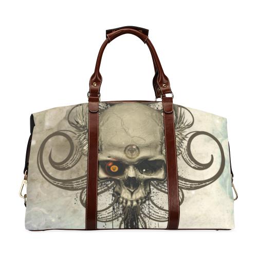 Creepy skull, vintage background Classic Travel Bag (Model 1643) Remake