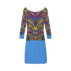 Groovy Doodle Colorful Art on Blue Bateau A-Line Skirt (D21)