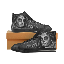 Calavera B&W Black Women's Classic High Top Canvas Shoes (Model 017)