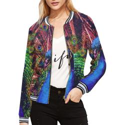 Impressionist Peacock All Over Print Bomber Jacket for Women (Model H21)
