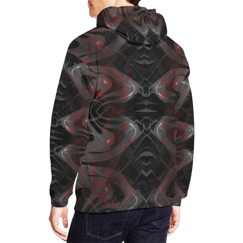 Red Dribled Voice Crew All Over Print Hoodie for Men (USA Size) (Model H13)